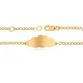 """Gourmette identité en or jaune 18 carats maille ovale """"nuage"""" personnalisable"""