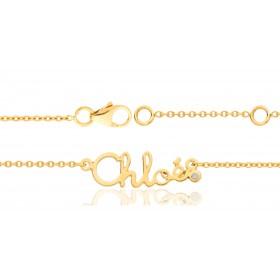 Bracelet prénom personnalisable en or 18 carats et diamant