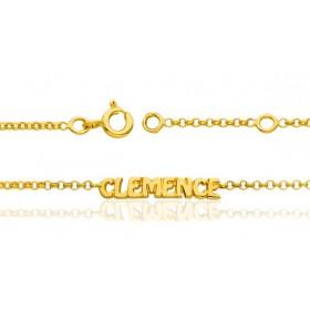 Bracelet prénom personnalisable en or 18 carats maille jaseron