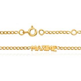 Bracelet prénom personnalisable en or 18 carats maille gourmette