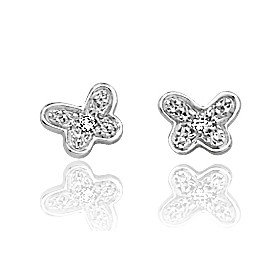 """boucles d'oreilles or blanc et diamant """"papillon"""""""