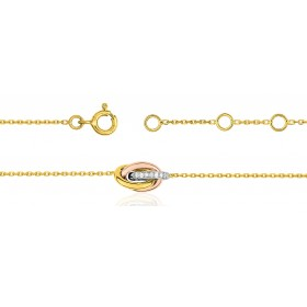 Bracelet ajustable trois ors 18 carats et diamants 0,02 carat pour femmes