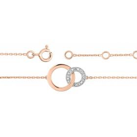 Bracelet ajustable deux ors 18 carats et diamants 0,03 carat pour femmes