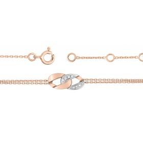 Bracelet ajustable deux ors 18 carats et diamants 0,04 carat pour femmes