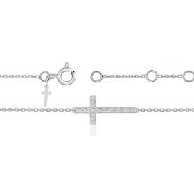 Bracelet ajustable en or 18 carats et croix diamants 0,04 carat pour femmes