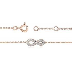 """Bracelet ajustable en or rose 18 carats """"infini"""" et diamants pour femmes"""