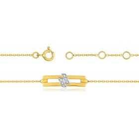 Bracelet ajustable en or 18 carats et diamants 0,04 carat pour femmes