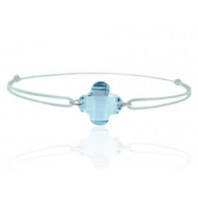 """Bracelet cordon ajustable et topaze à facettes """"fleur"""""""