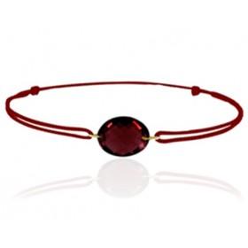 Bracelet cordon ajustable et grenat ovale à facettes