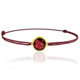 Bracelet cordon ajustable et grenat rond à facettes
