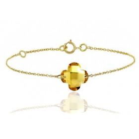 Bracelet or jaune ajustable et citrine fleur à facettes