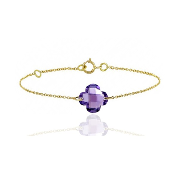 Bracelet or jaune ajustable et améthyste fleur à facettes