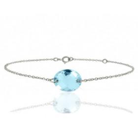"""Bracelet or blanc 18 carats ajustable et topaze à facettes """"ovale"""""""