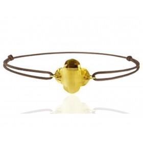 """Bracelet cordon ajustable et citrine à facettes """"fleur"""""""