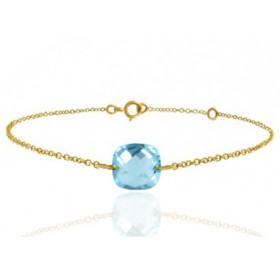 Bracelet or jaune 18 carats et topaze bleue à facettes