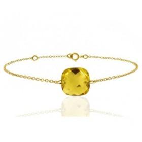 Bracelet or jaune ajustable et citrine coussin à facettes