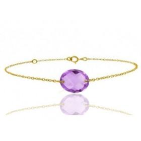 Bracelet or jaune ajustable et amethyste ovale à facettes
