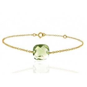 Bracelet or jaune ajustable et quartz vert coussin à facettes