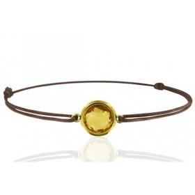 Bracelet cordon ajustable et citrine ronde à facettes