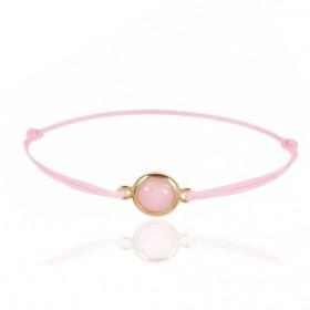 Bracelet cordon ajustable et opale rose ovale