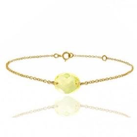 Bracelet or jaune 18 carats et quartz jaune à facettes