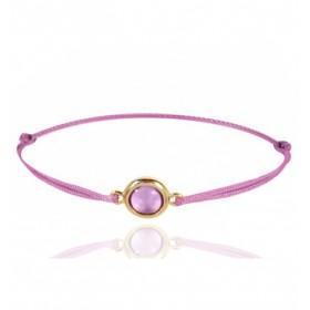 Bracelet cordon ajustable et améthyste violette ronde