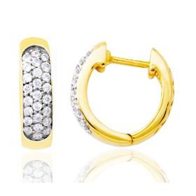 créoles en or jaune 18 carats et diamant 0,25 carat pour femme