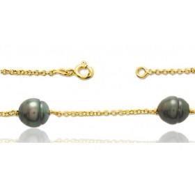 bracelet or jaune 18 carats et perles de Tahiti 8 mm