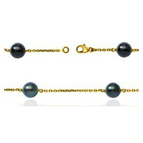 bracelet or jaune 18 carats et perles de Tahiti 9 mm