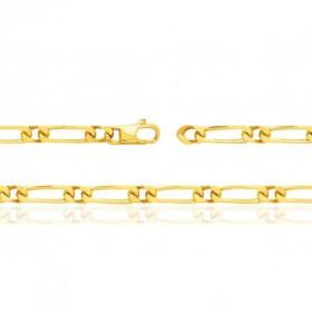 Bracelet or jaune 18 carats maille Cheval alternée 1:1