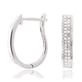 créoles or blanc et diamants pour femmes
