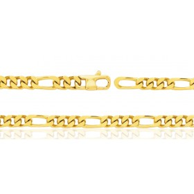 Bracelet or jaune 18 carats maille Cheval alternée 1:3