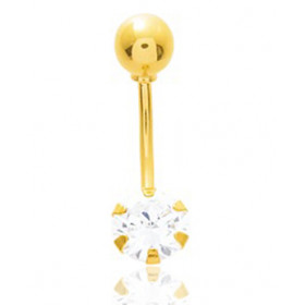 Piercing nombril or jaune 18 carats et zirconium