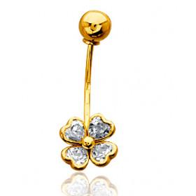Piercing nombril or jaune 18 carats et zirconium trèfle