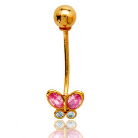 Piercing nombril or jaune 18 carats et zirconium papillon