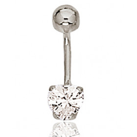 Piercing nombril or blanc 18 carats et zirconium cœur