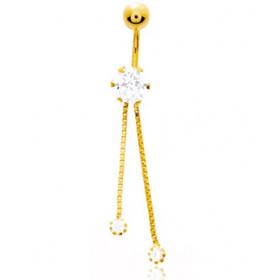 Piercing nombril or jaune 18 carats et zirconiums pendants