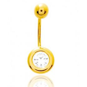 Piercing nombril or jaune 18 carats et zirconium serti clos