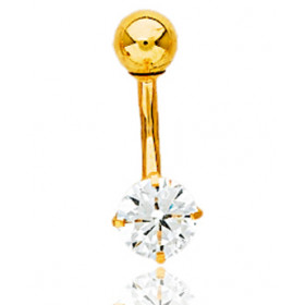 Piercing nombril or jaune 18 carats et diamant 0,40 carat