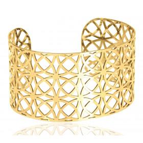Bracelet manchette en or jaune 18 carats pour femmes