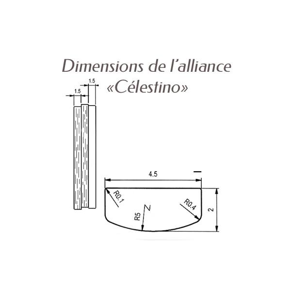 Dimensions bague alliance Breuning argent Antonino pour homme