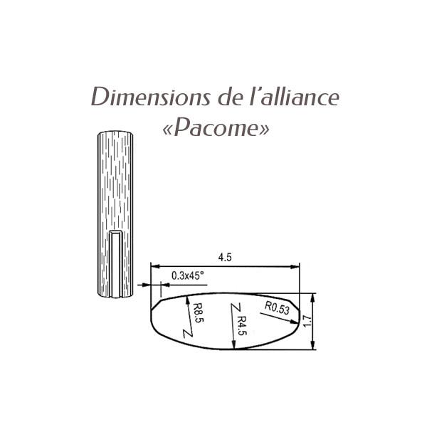 Dimensions bague alliance Breuning argent Pacome pour homme