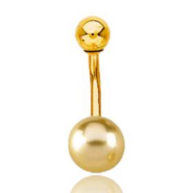 Piercing de nombril en or jaune et perle d'Australie