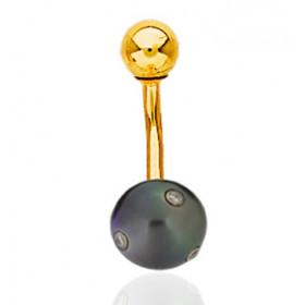 Piercing de nombril en or jaune et perle de Tahiti et diamants