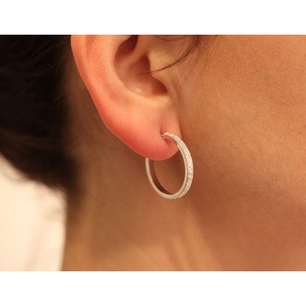 boucles d'oreilles femme or blanc 18 carats glitter