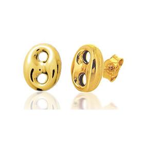 Boucle d'oreilles créole en or jaune 18 carats grain de café