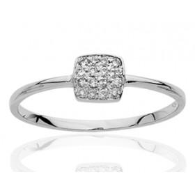 Bague or blanc et diamant 0,10 carat