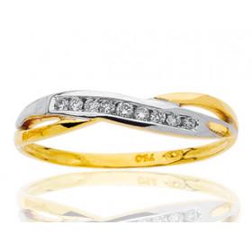 Bague deux ors 18 carats et diamants pour femme