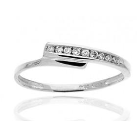 Bague or blanc et diamant 0,09 carat
