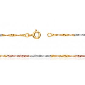 """Chaine de cheville trois ors 18 carats pour femmes """"Singapour"""""""